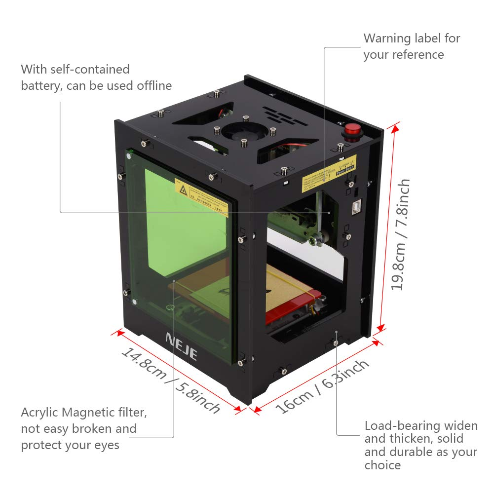 Laserschneidmodul CNC f/ür NEJE 1500mW Graviermaschine Mini Automatische Elerose Graviermaschine Laserkopf