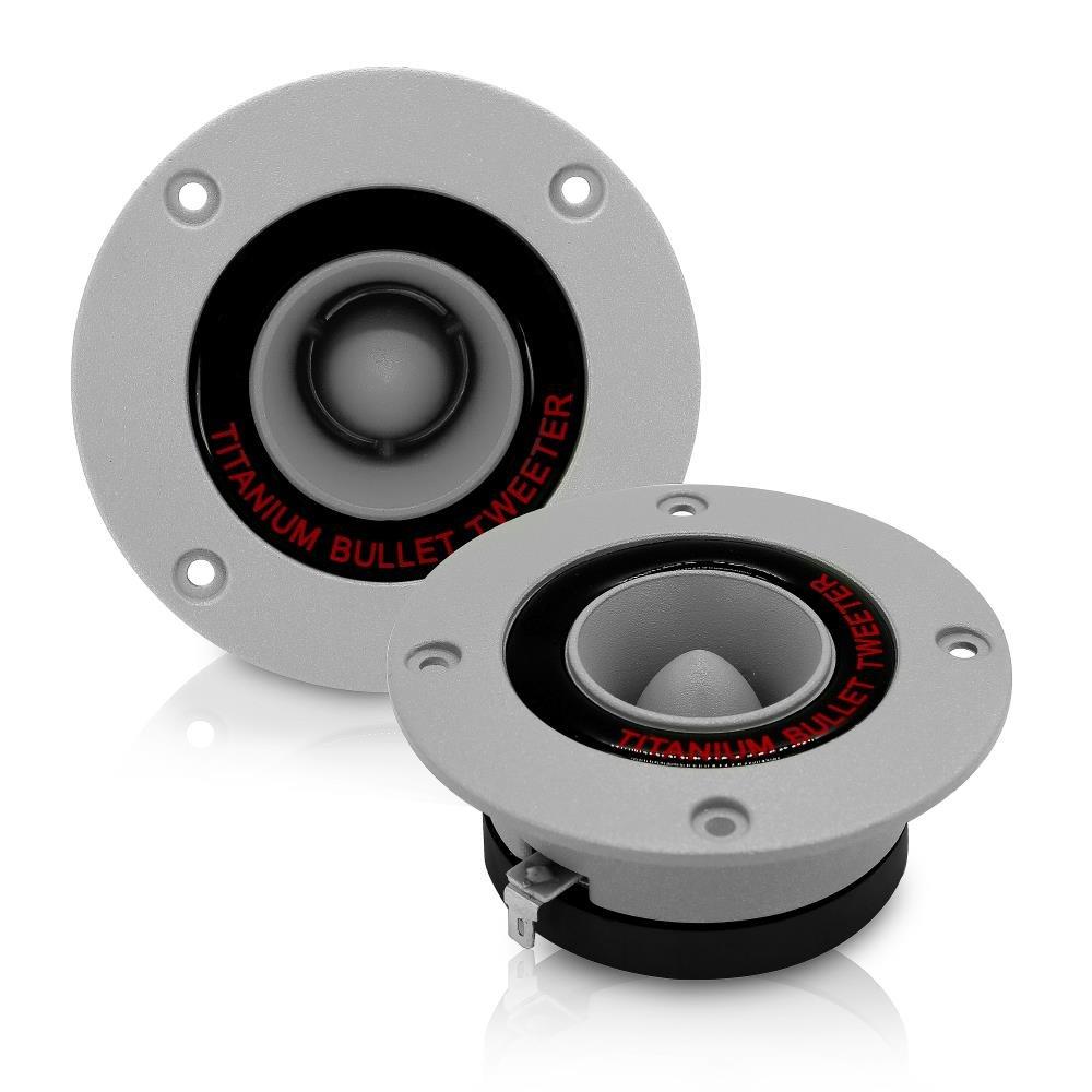 96 dB 300 Watt High Power Aluminum Bullet Horn with 1 Inch Super Titanium Tweeters 2 kHz 3.25 Car Audio Speaker Tweeter Magnet 25 kHz Frequency Heavy Duty 30 oz Pyramid TW18 4 Ohm Pair