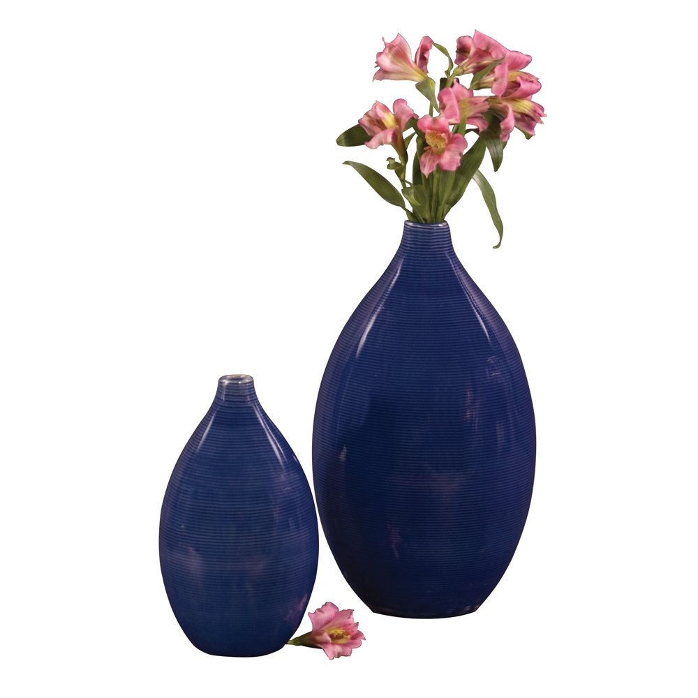 Howard Elliott Glazed Ceramic Flower Or Decorative Home Vase Set, Cobalt Blue, 2 Piece, 7 x 12 Inch and 5 x 9 inch