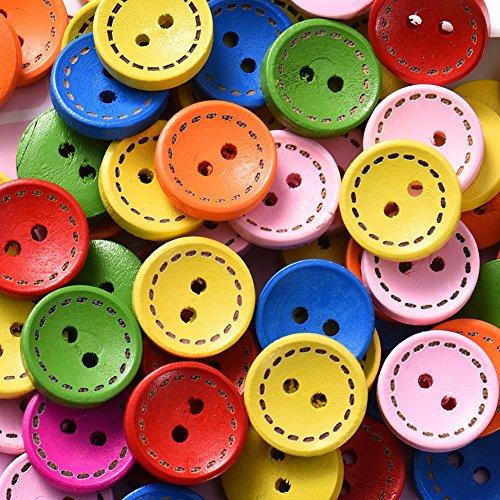 QIN 木のボタンセット ウッドボタン カラフル シンプル 点線 アンティーク調 手芸 手作り ボタン 2つ穴 一色発送 100枚セット 手芸に最適 選べる2サイズ 15mm