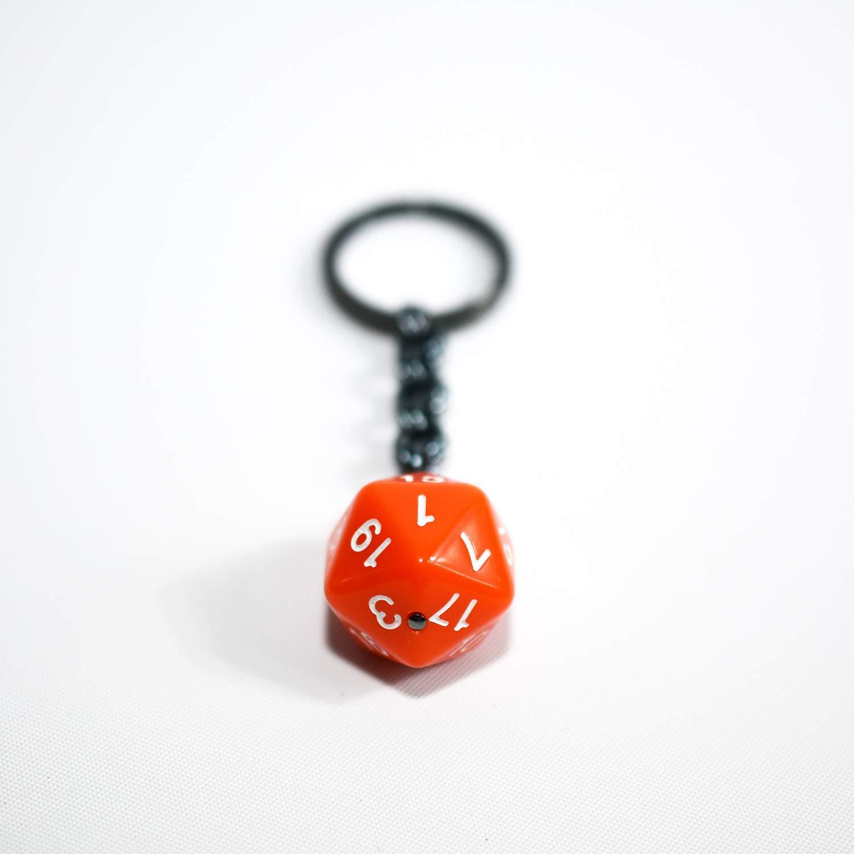 Twenty Sided Dice Keychain Solid Orange and White