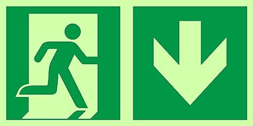 Señales de salida de emergencia de Anro | Flecha hacia abajo | Brillan en la oscuridad y autoadhesivos | Señal de PVC de seguridad y advertencia | 150 ...