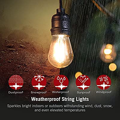 TaoTronics LED Outdoor String Lights Commercial Grade Outdoor Lights, ETL&UL588 Approved, Heavy Duty Weatherproof Strand for Outdoors, 110V, US Plug