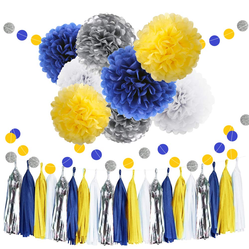 30pcs Tissue Pom Poms Yellow Blue Color Party Supplies,Navy Yellow White Silver Birthday Party Decorations Paper Tassel Garland for Bridal Shower Wedding School Ceremony Graduation Theme Party Supplie by WAYSLA