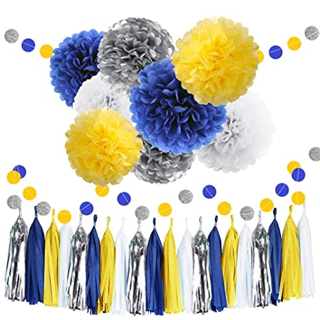 30pcs Tissue Pom Poms Yellow Blue Color Party Supplies Navy Yellow White Silver Birthday Party Decorations Paper Tassel Garland For Bridal Shower