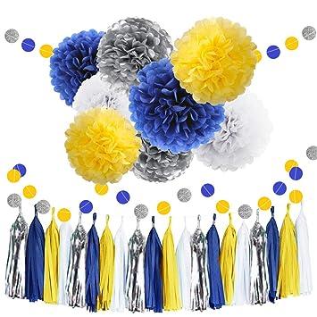 Amazon 30pcs Tissue Pom Poms Yellow Blue Color Party Supplies