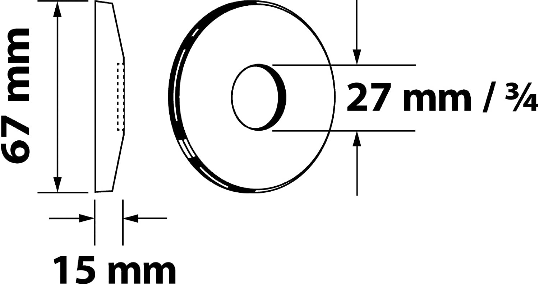 Diam/ètre Ext/érieur 67 mm M/étal Chrom/é Hauteur 5 mm Sanitop-Wingenroth 27 mm ou 3//4 pouce Rosace