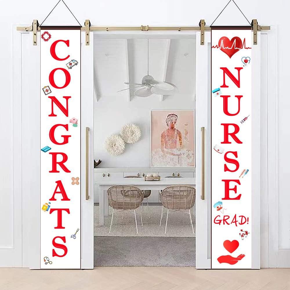 BignzwUra Nurse Graduation Porch Sign-Nurse Congrats Hanging for Nursing Party Supplies Banner Decoration Outdoor Indoor Exterior Party
