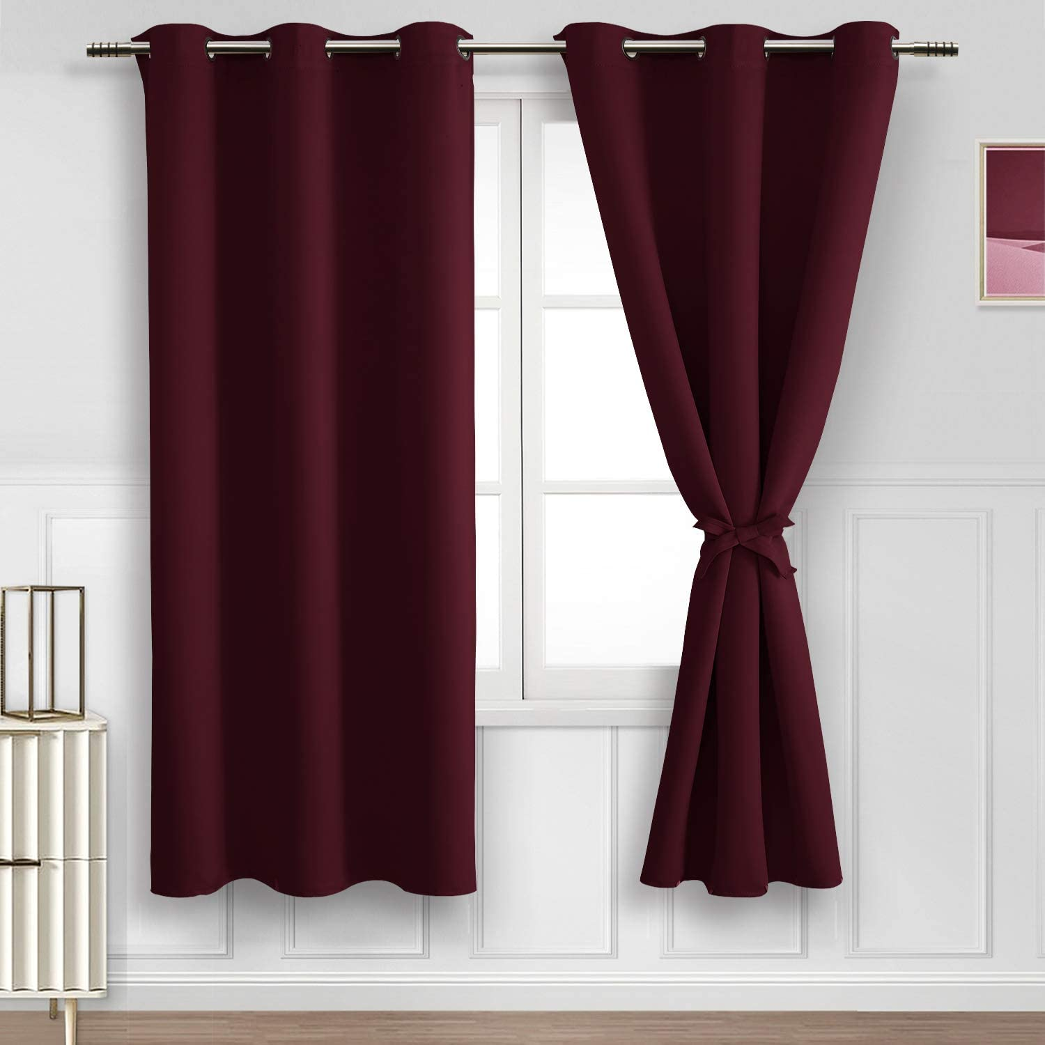 Hiasan Blackout Curtains for Bedroom, 42 x 63 Inches Length - Thermal Insulated & Light Blocking Window Curtains for Living Room/Kids Room, 2 Drape Panels Sewn with Tiebacks, Burgundy