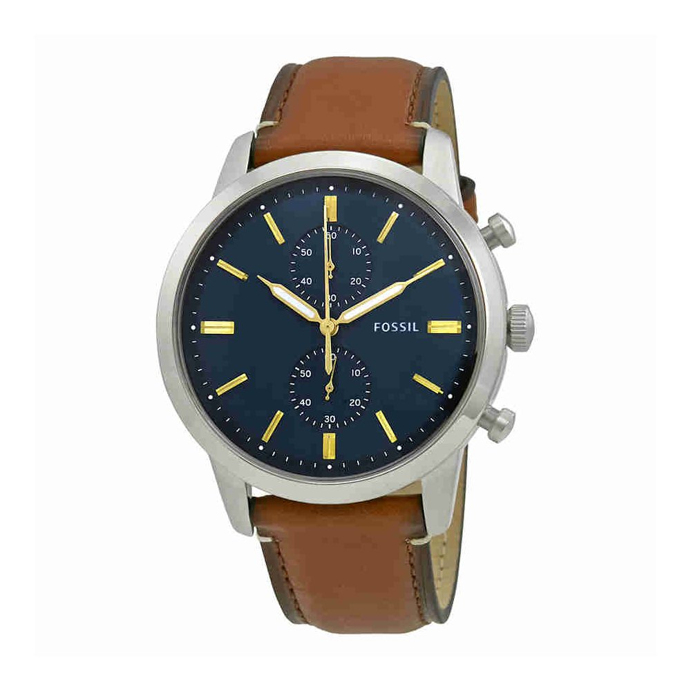 Fossil Men's Townsman Quartz Stainless Steel and Leather Chronograph Watch, Color: Silver-Tone, Brown (Model: FS5279)