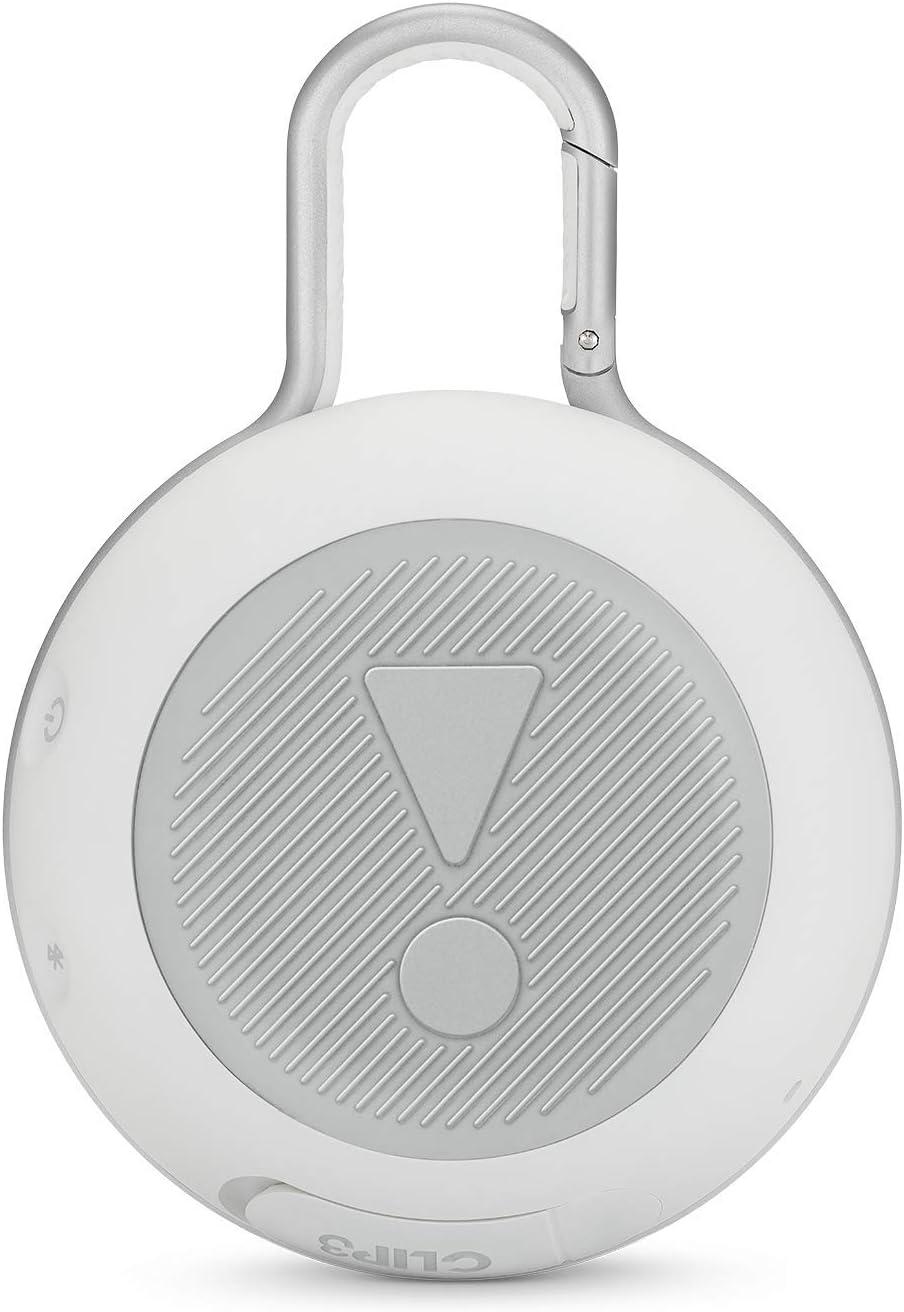 White JBL Clip 3 Portable Waterproof Wireless Bluetooth Speaker