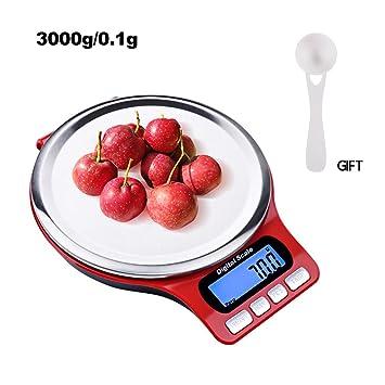 Báscula de cocina digital, báscula de alimentación de bolsillo de acero inoxidable con pantalla LCD
