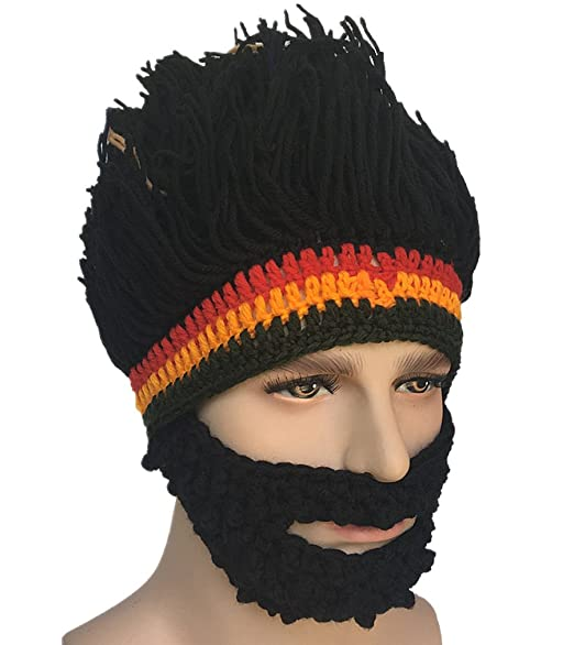 Kafeimali Barbarian Knit Bearded Hats Wig Mask Original Foldaway Funny Caps  (Black) 9cc95158c15