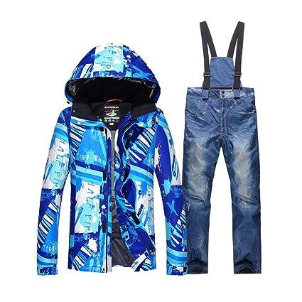 f266668d1c Amazon.com   Teslaluv Ski Jacket Men s Snow Suit Outdoor Sports Wear  Snowboarding Suit Sets Waterproof Windproof Ski Jacket + Belt Snow Pant
