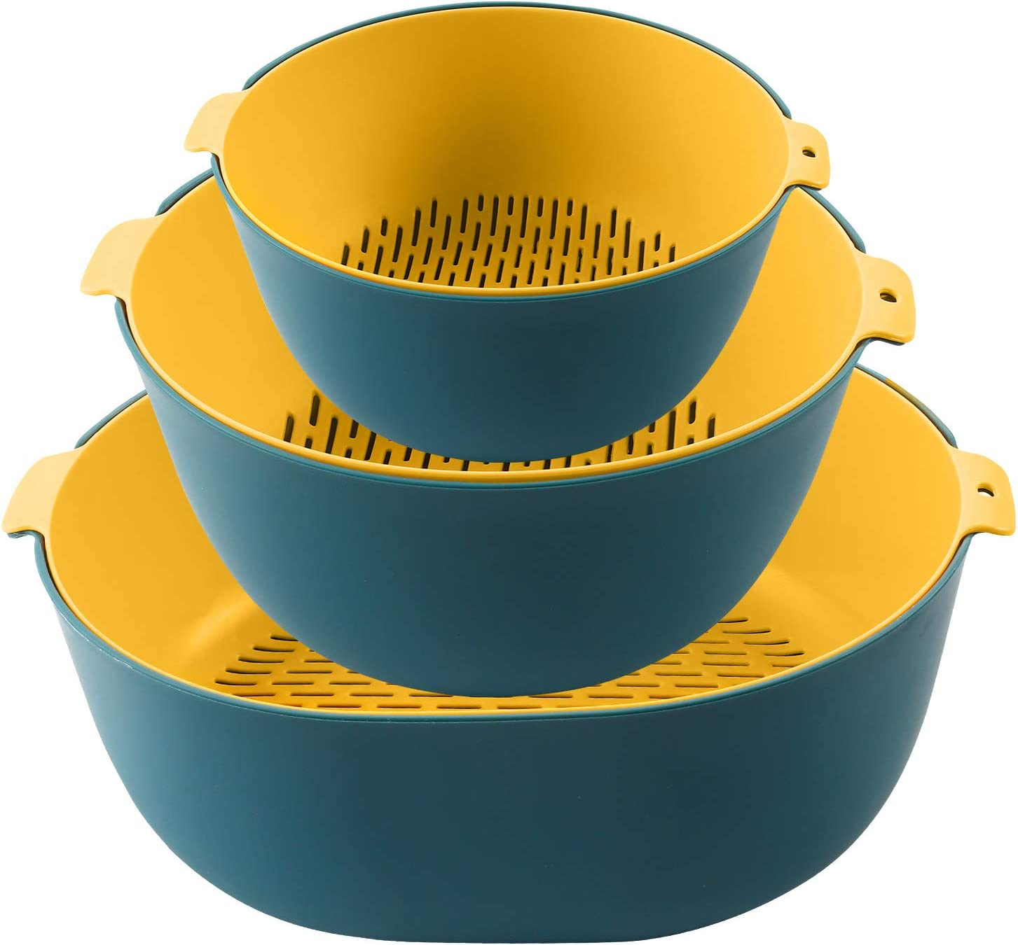 BARBBLY 6-pieces Plastic Strainer and Colander Stackable Set,Soak, Wash and Drain Vegetables and Fruit,2 pcs 5.5 Quart,2 pcs 3.5 Quart and 2 pcs 1.5 Quart(Teal Blue and Sunburst)