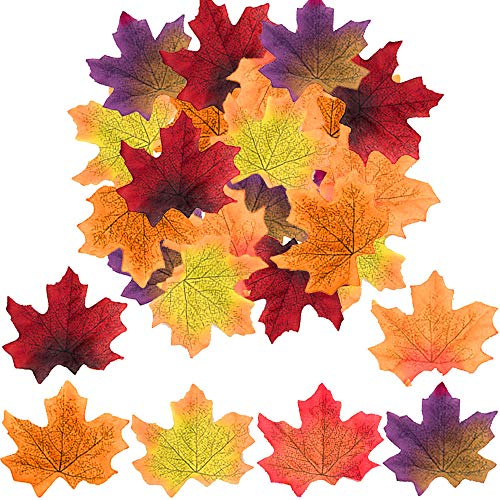 (zimeng 300Pcs Assorted Mixed Fall Colored Artificial Maple Leaves for Weddings, Events and Decorating)