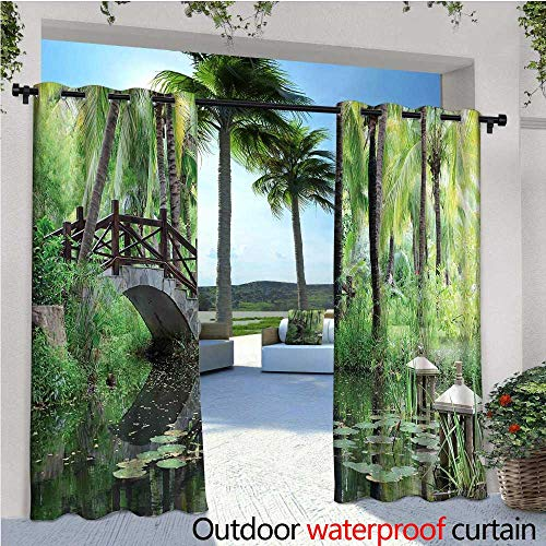 Zen Garden Outdoor Privacy Curtain for Pergola Green Landscape in South China Palm Trees and Bushes Lush Growth Nature Thermal Insulated Water Repellent Drape for Balcony W72