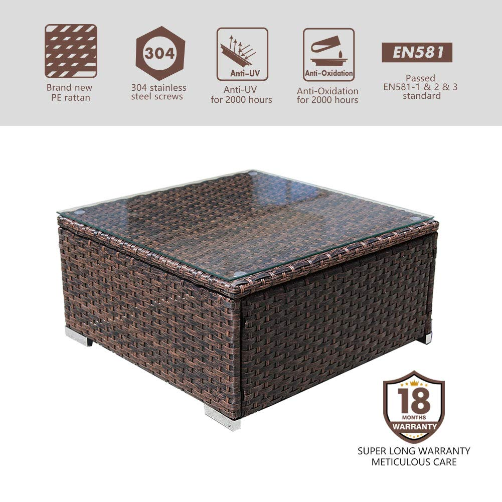 DIMAR garden Outdoor Coffee Table Rattan Patio Table Furniture Wicker Coffee Table Sectional Coffee Table Lawn Garden Tea Table Backyard Outdoor Patio Coffee Tables with Glass Mix Brown 25.2In