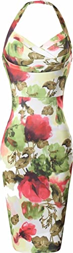 jeansian Women's Summer Sexy Slim Floral Straps Backless Pencil Dress WKD285