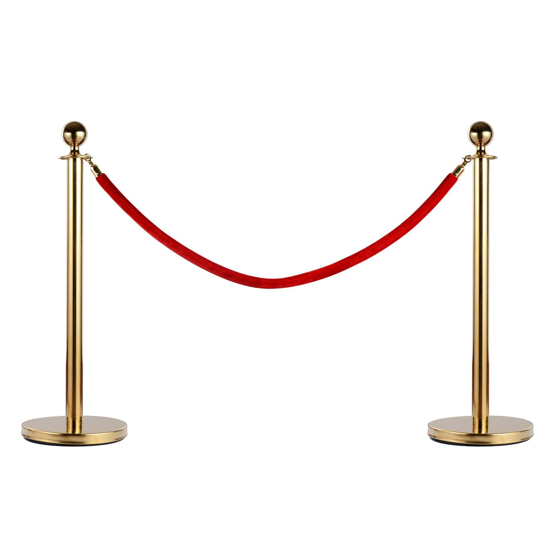 homcom Transenne Elimina Code Separacode Paletti di Delimitazione con Corde Rosso Acciaio Inox Ф32 x 95CM Oro Aosom Italy