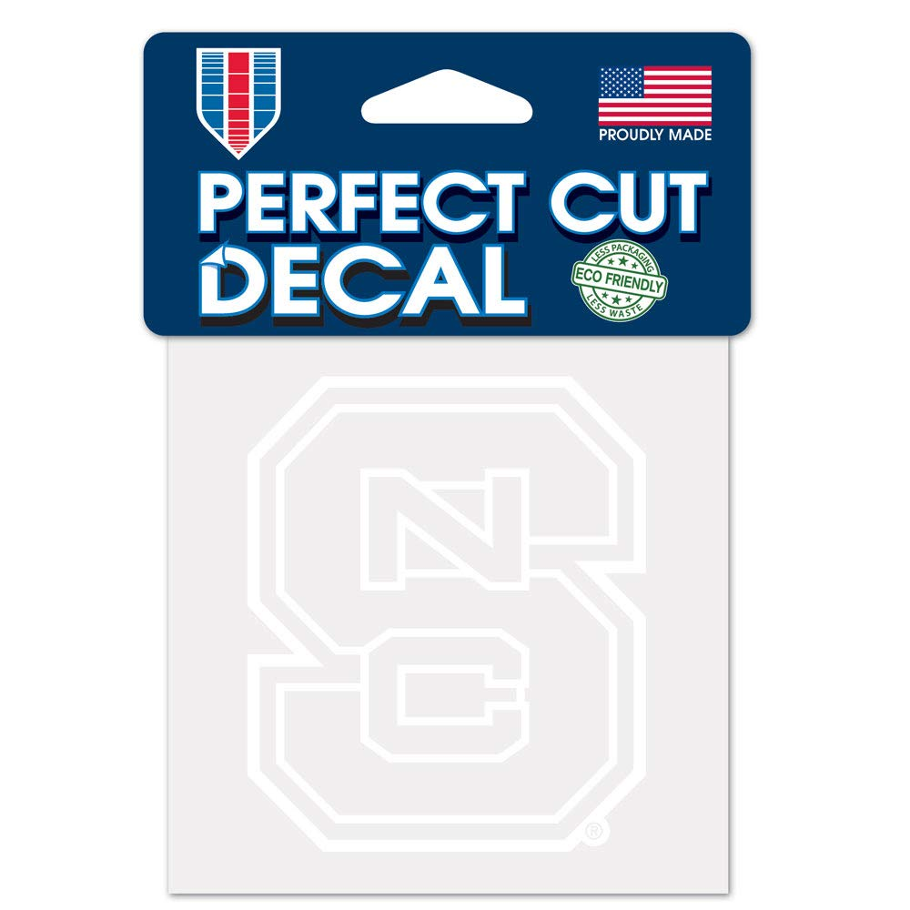 One Size Team Color NCAA North Carolina State Wolfpack 4x4 Perfect Cut White Decal
