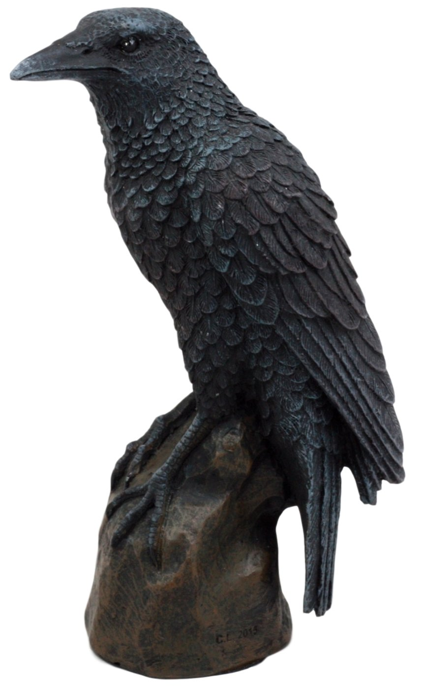 Ebros Gift Gothic Raven Statue Crow Scavenger Bird Perching On Rock Figurine 6''H