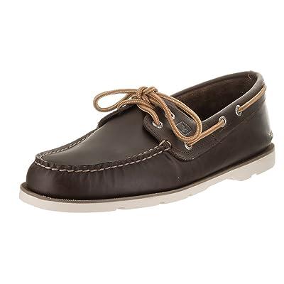 Sperry Top-Sider Men's Leeward 2-Eye Dark Brown Boat Shoe 8.5 Men US | Loafers & Slip-Ons