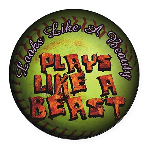 CafePress - Plays Like A Beast Fastpitch Softball Round Car Ma - Round Car Magnet, Magnetic Bumper Sticker