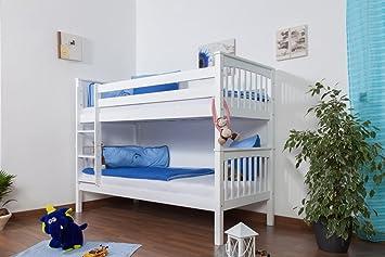 Etagenbett 180 90 : Kinderbett etagenbett mario buche vollholz massiv weiß lackiert inkl