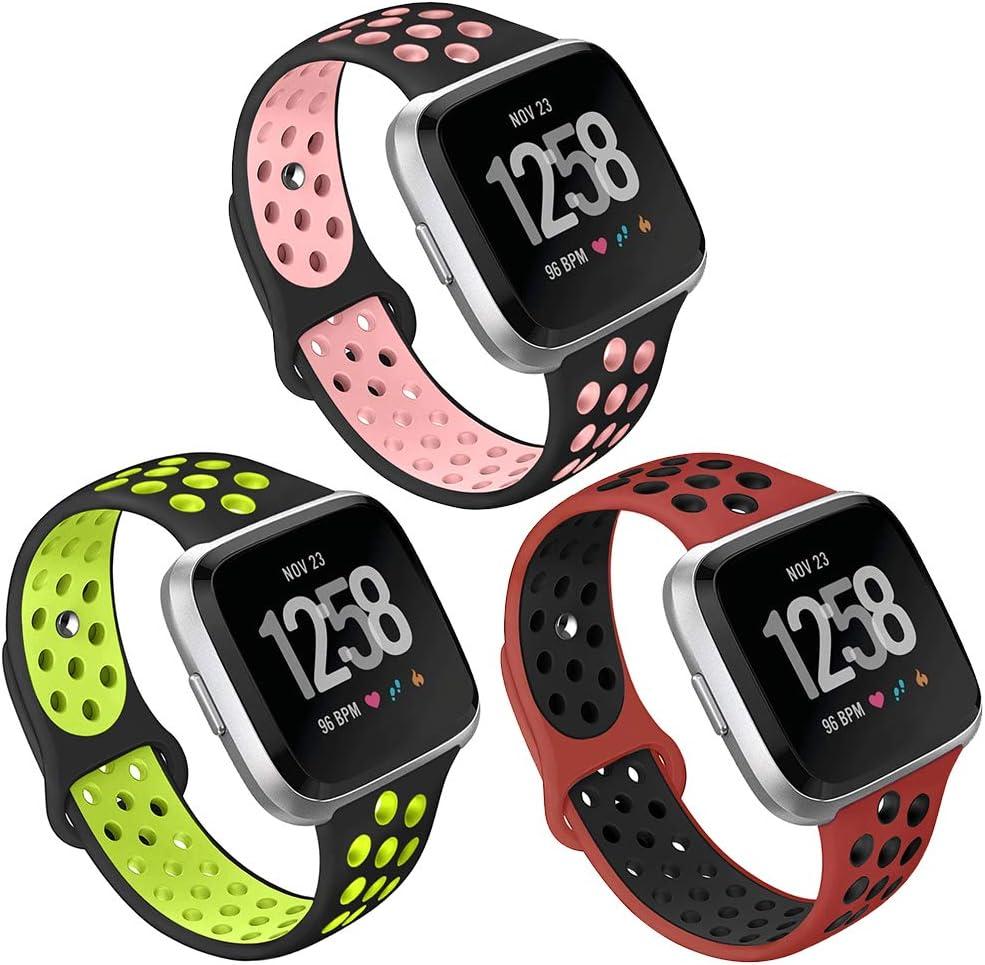 Silicone Bracelet Bande de Remplacement Ajustable Wristband pour Fitbit Versa Montre Grand Petit Kmasic Bracelet pour Fitbit Versa//Versa Lite Edition
