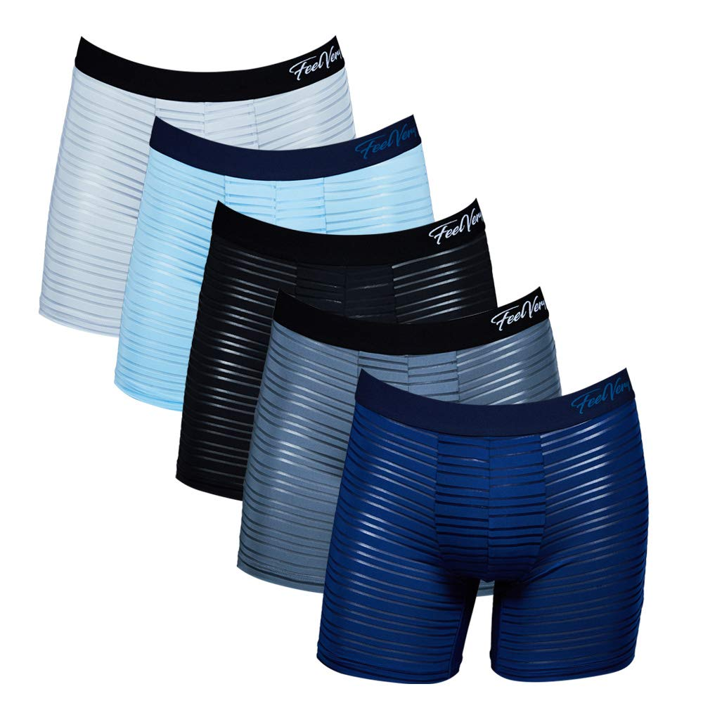 Unlimited Comfort Series 5 Pack Feelvery Mens Superior Fit Microfiber Active Performance Boxer Briefs Underwear