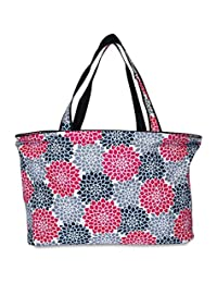 Ever Moda Beach Tote Bag - Pink Black Grey Floral