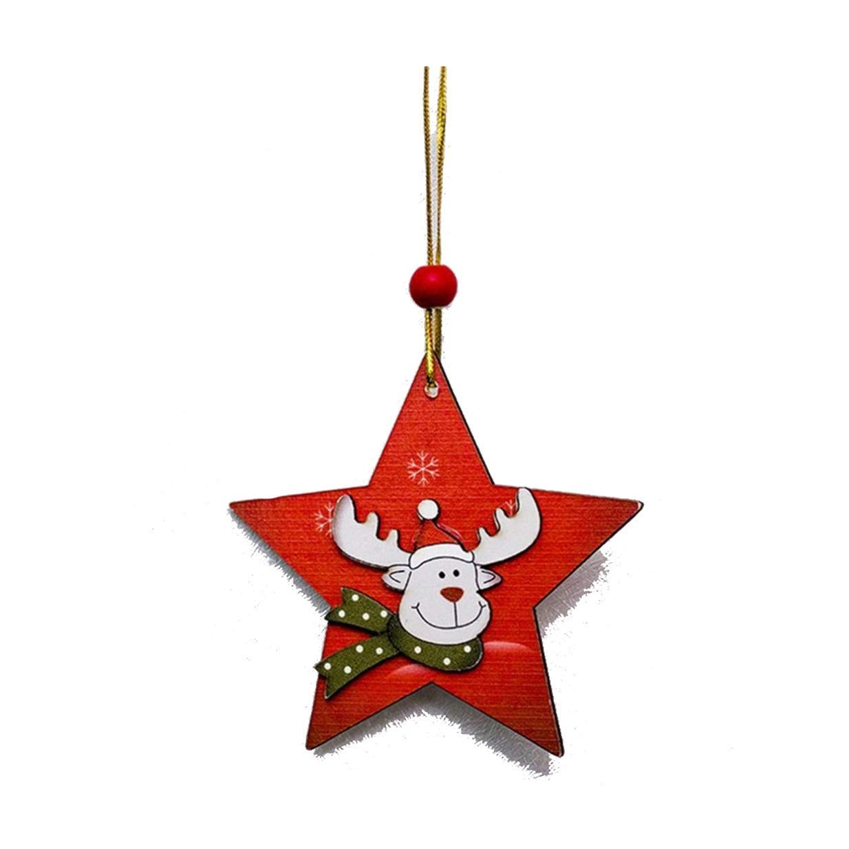 Tcplyn Premium Christmas Tree Creative Painted Pendant Wooden Sign Ornaments Closet Door and Window Tag AccessoriesPentagram elk