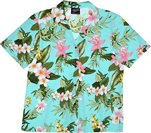 RJC Women's Paradise Grove Hawaiian Camp Shirt Aqua Large (Paradise Camp Shirt)