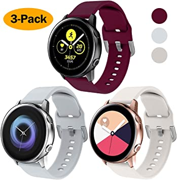 NANW 3-Pack Compatible with Samsung Galaxy Watch Active Bands/Active 2 Bands, Galaxy Watch 42mm Bands/Gear Sport Bands, 20mm Soft Waterproof Silicone ...