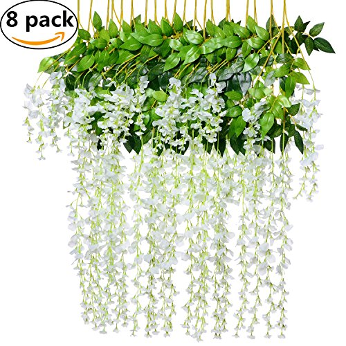 8pcs Artificial Fake Wisteria Vine Garland - Artiflr 3.6feet/Piece Silk Wisteria Vine Ratta Hanging Flower for Home Garden Wedding Decor (White) by Artiflr