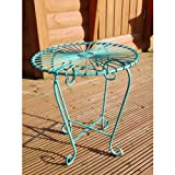 Black Country Metal Works Retro Wrought Iron Bistro Table - Matching Chairs Available - (Blue)