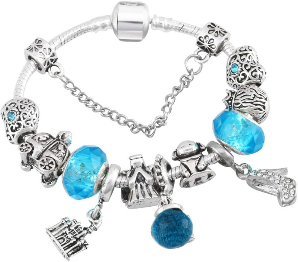 Regalo para novia, diseño de catoon chapado en plata envejecida, pulsera para niños con cuentas de cristal de Murano, pulseras finas con respecto al diseño de joyería de bricolaje para niños