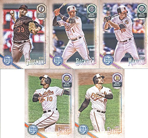 2018 Topps Gypsy Queen Baltimore Orioles Team Set of 10 Cards: Adam Jones(#42), Jonathan Schoop(#97), Manny Machado(#98), Austin Hays(#121), Chance Sisco(#152), Zach Britton(#183), Kevin Gausman(#209), Chris Davis(#218), Tim Beckham(#274), Trey Mancini(#291) -