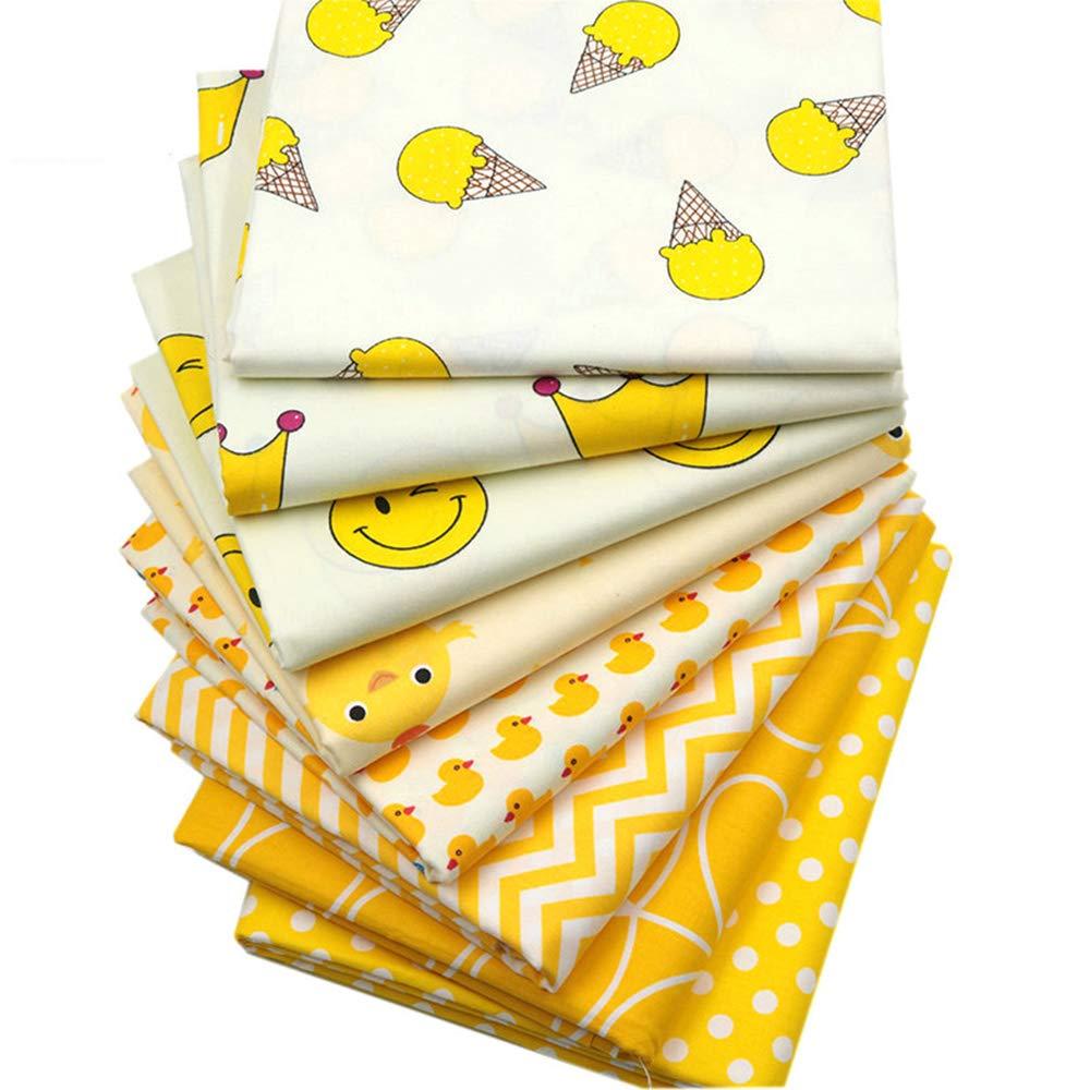Quilting Fabric Fat Quarter Bundle 100% Cotton Precut Quilt Sewing Fabrics for Craft DIY (18 x 22 inches/46cmx56cm, 8pcs) Hanjunzhao