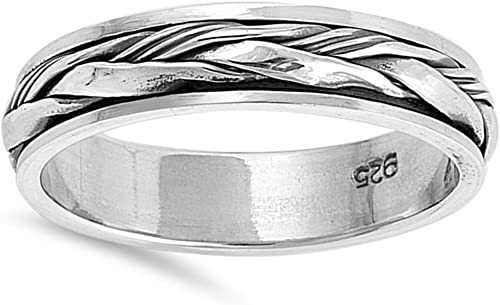 Sizes V /& Z. Sterling Silver Tri Colour Rope Celtic Twist Spinner Band Ring