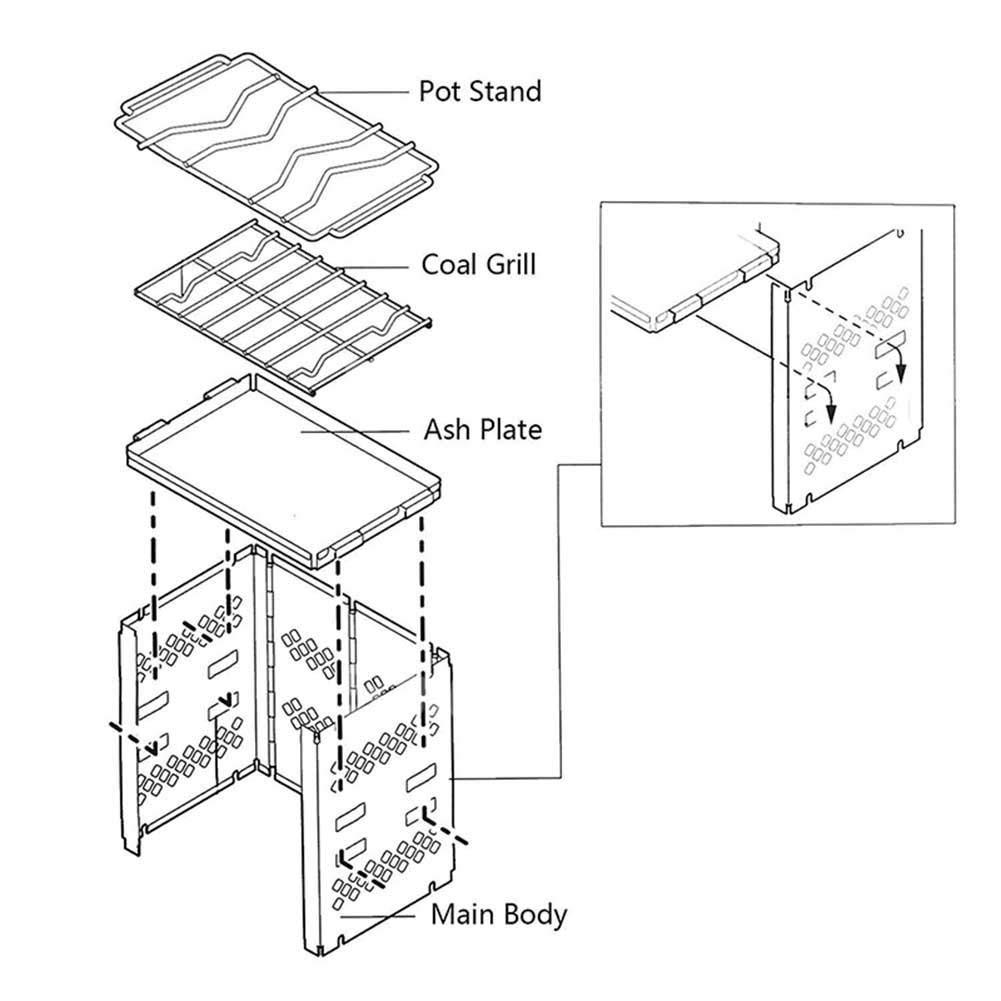 Aitravel Picnic Estufa port/átil Plegable de Acero Inoxidable para Camping por Burning Wood hogar
