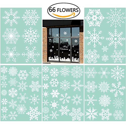 66 Fensterdeko Schneeflocken NICEXMAS Fensterbilder Schneeflocken(weiss)