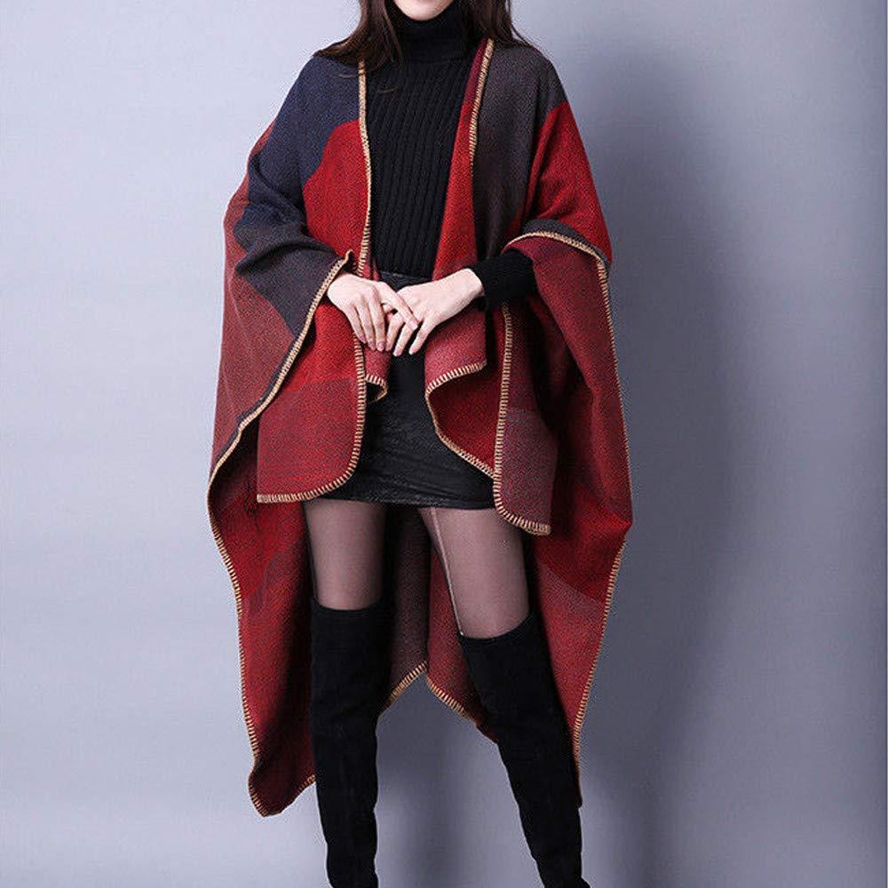 Millenniums Femme Cape Manteau /à Carreaux Tricot Pull Ch/âle Cachemire Ponchon Coupe-Vent Parka Casual,Taille Unique
