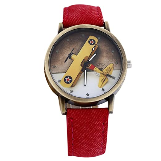 Lookatool Plane Design Denim Leather Wrist Watch
