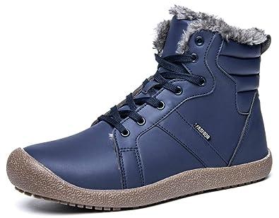 22e1327a74cfc4 Eagsouni Homme Femme Bottes De Neige Fourrées Impermeables Bottines Cuir  Hiver Chaussures Chaudes Lacets Plates Cheville