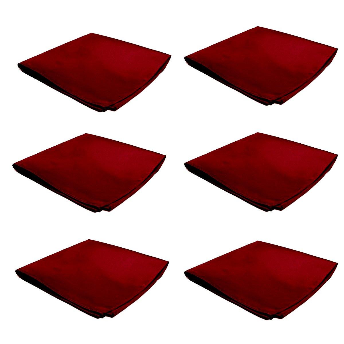 Mens Pocket Squares Handkerchief 6 PK Wedding Party Solid Color Handkerchiefs (Burgundy)