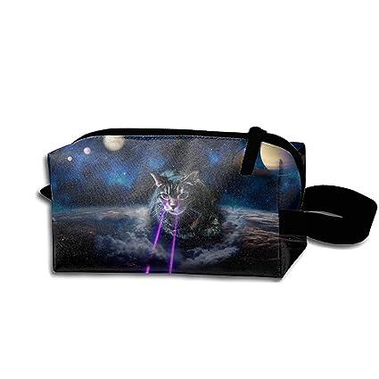 82bbb945d5a9 Amazon.com: JONHBKD Waterproof Cosmetic Bags Purple Laser Cat ...