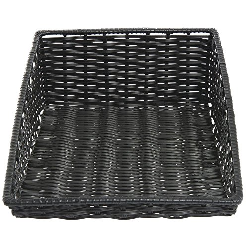 Tapered Storage Basket - Wicker Look Tapered Storage Basket, Rectangular Black- 15 1/2