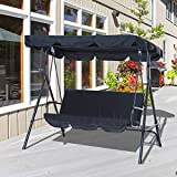 Outsunny 3 Seater Canopy Swing Chair Garden Rocking Bench Heavy Duty Patio Metal Seat w/Top Roof - Black